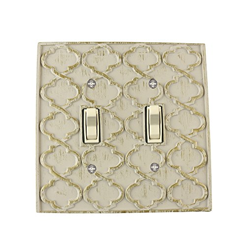 Meriville Moroccan 2 Toggle Wallplate, Double Switch Electrical Cover Plate, Ivory