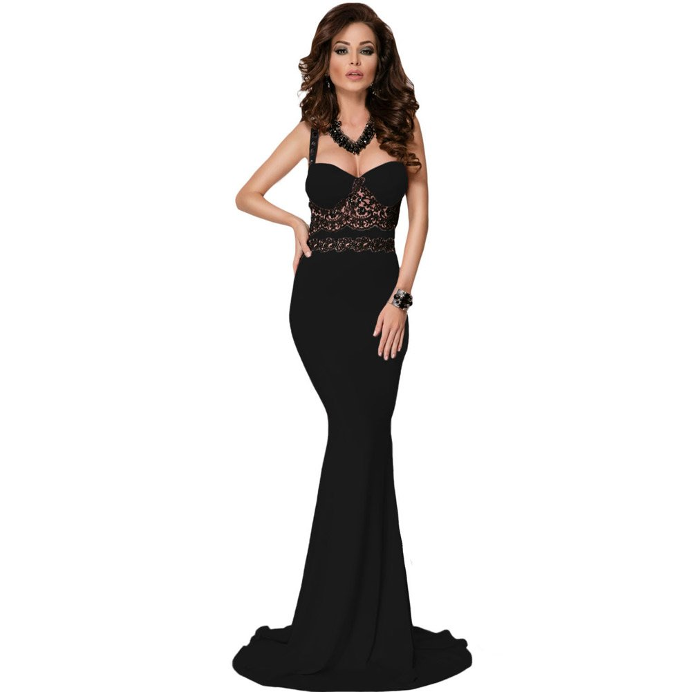 BYY Black Lace Detail Long Prom Party Maxi Dress(Size,S) by BYY