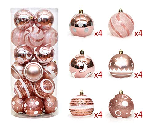 Tiaoqi Assorted Christmas Ball Ornaments Shatterproof Seasonal Light Decorative Hanging Baubles Set with Reusable Hand-held Gift Package for Holiday Xmas Tree Decorations (Rose Gold) ()
