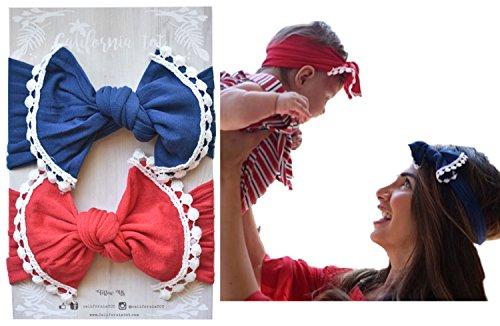 California Newborn Tote (Turban Bow Knot Headband with Pom Poms, Self tie for Newborns to Adults (Nautical))