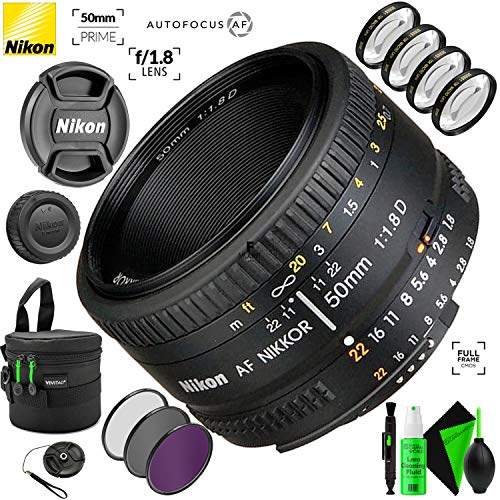 Nikon AF NIKKOR 50mm f/1.8D Lens with Creative Filter Kit and Pro Cleaning Accessories