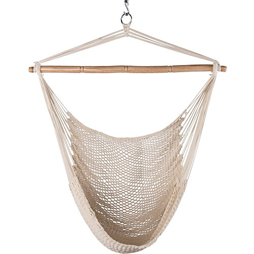 Swing Single Cotton Rope - Lazy Daze Hammocks Hanging Caribbean Hammock Chair, Soft-Spun Cotton Rope, 40 Inch Hardwood Spreader Bar Wide Seat, Max Weight 300 Pounds, Natural
