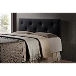 Bedroom Baxton Studio Wholesale Interiors Dalini Modern and Contemporary Faux Leather Headboard with Faux Crystal Buttons, King… modern headboards