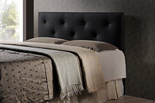 Baxton Studio Wholesale Interiors Dalini Modern and Contemporary Faux Leather Headboard with Faux Crystal Buttons, King, Black (For Beds King Headboards Leather)