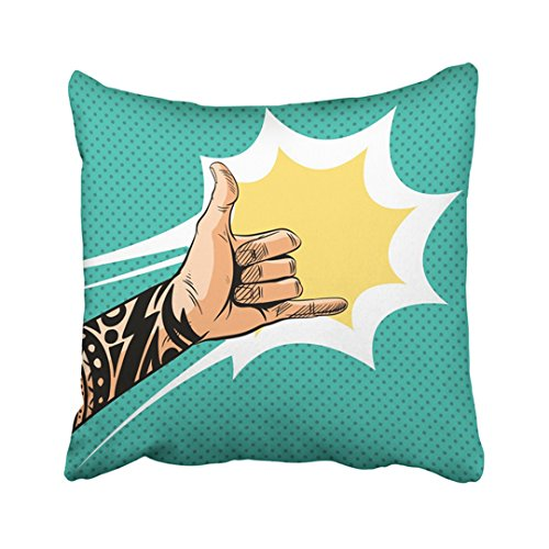 (Emvency 18X18 Inch Decorative Throw Pillow Cover Polyester Man Shaka Sign Gesture Comic Book Pop Tattoo People Hawaii Arm Boom Cartoon Super Cushion Two Sides Pillow Case Square Print For Home)