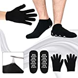 Moisturizing Gel Spa Socks Gloves Whitening Soften Repair Dry Cracked Cuticles Skin Oil Socks, Large Size for Women and Men, Black