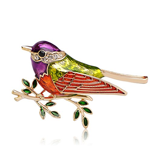 Xiongzhen Colorful Enamel Bird Branches Brooches Kids Lady Corsage Clips For Suit Scarf Dress Decoration purple