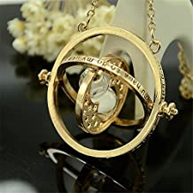 Rizilia Harry Potter Gold Time Turner Necklace Hermione Granger Rotating Spins Hourglass