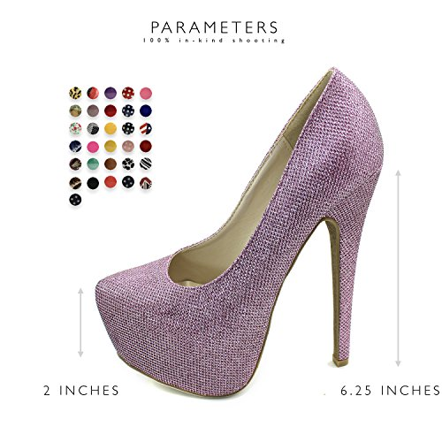 Toe Heel Women's Fashion Glitter Pink High Extreme Pump Platform High Stiletto Sexy Hidden Shoes Pointed FvrvIwfxq