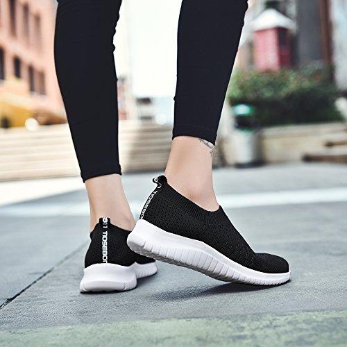 TIOSEBON Women's Walking Shoes Lightweight Breathable Flyknit Yoga Travel Sneakers 7.5 US Black by TIOSEBON (Image #4)