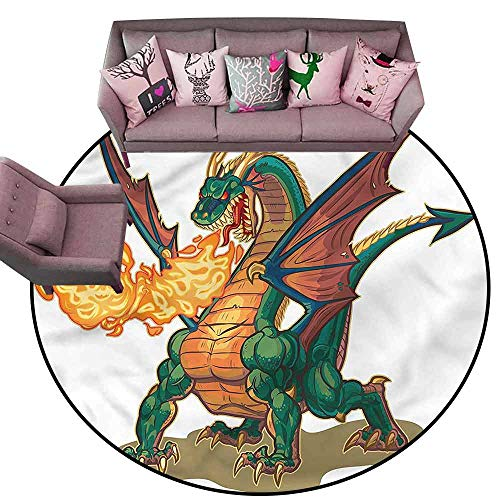 Indoor/Outdoor Rubber Mat Dragon,Mythical Monster Mascot Diameter 54