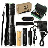 Discoball® 2200 LM CREE XM-L T6 LED Zoomable Zoom 5 Modes Flashlight Torch Lamp LED torch +18650 Battery & 2 chargers