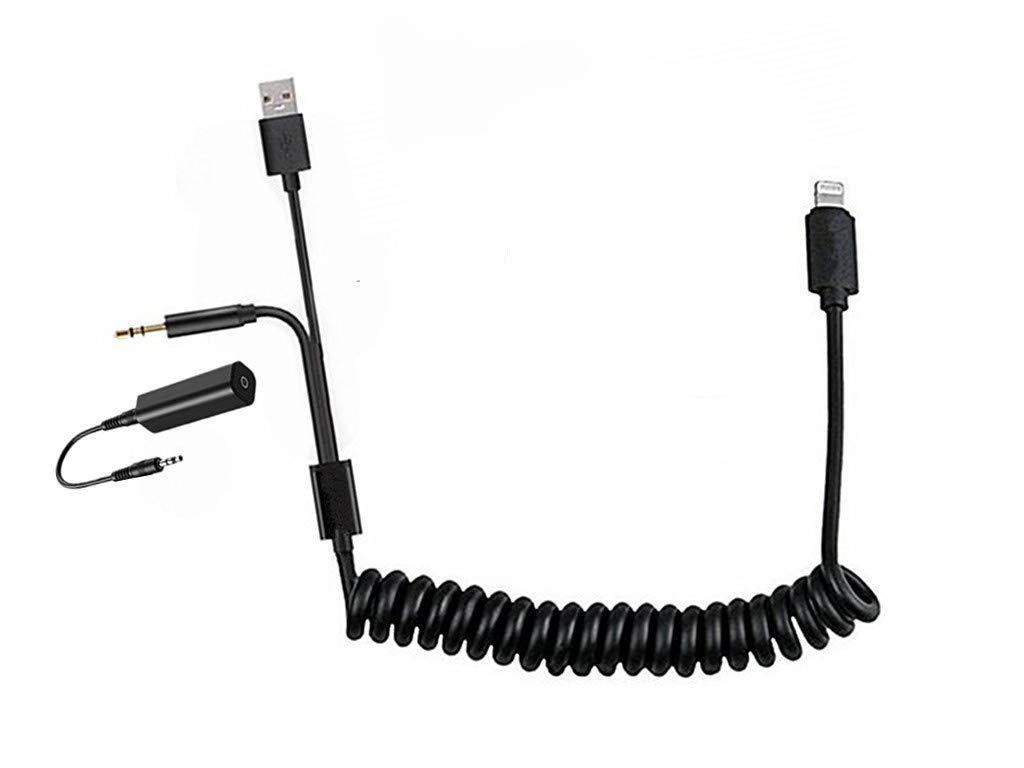 Interfaz de música para Coche Compatible con Shine, Cable en Espiral AUX, Conector de Audio de 3,5 mm y Cable USB para iPXs XS MAX XR X 8 7 7 Plus para Cable en Y BMW (Longitud Estirada de 2 m)