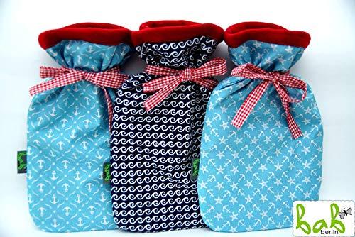 Wärmflasche mit Bezug, Bettflasche, Wärmflaschenbezug, doppelseitig mit Fleece