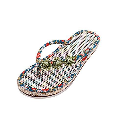 Ouneed ® Moda mujer verano sandalias Peep-toe de flores de Casual de playa ojotas Verde