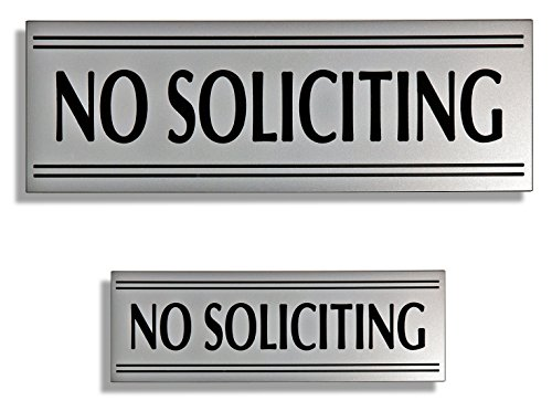 (JP Signs - Two No Soliciting Signs - Double Doorkeeper - Small & Big Sign: 9X3, 6X2 Inch - (Silver) Engraved Premium Door Signs - Not a Sticker, Easy to Read, Highly Noticeable)
