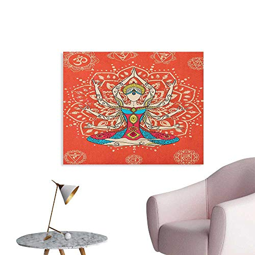 Anzhutwelve Yoga Photographic Wallpaper Yoga Technique with Ethnic Costume Zen Discipline Your Body and Mind Artprint The Office Poster Cream Red Teal W28 xL20]()