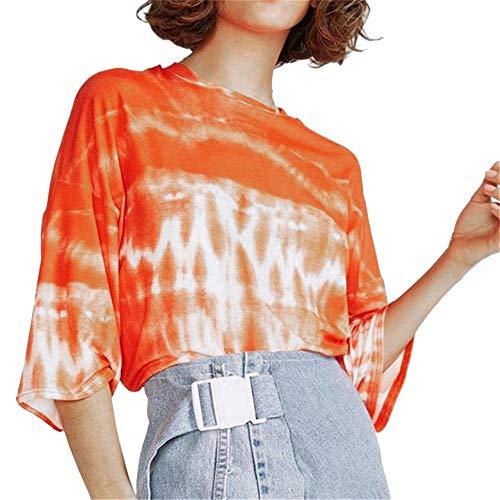 Women's Summer Half Sleeve T Shirt Dress Tie-dye Round Neck Tunic Tops Casual Swing Tee Shirt Dress Orange