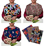 3 Pack Adult Bib Washable Reusable Waterproof Clothing Protector with Vinyl Backing and Velcro Closure 34''X18'', Designer Patterns (Vivid Butterfly/Blue Rose/Heritage)