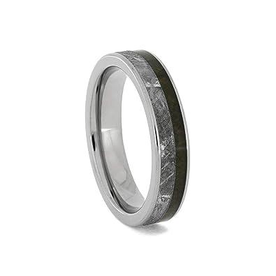 7e8377e5d4f Amazon.com  Jewelry By Johan Crushed Dinosaur Bone and Meteorite Wedding  Band in Titanium