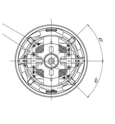 Staubsaugermotor mit tangentialem Auslass und Lüfter, universell, AMETEK - 1200 W - Bypass, PAGODA, Durchmesser des Auslassrohres 47,5mm außen