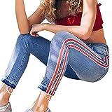 2018 Women's Capris Crop Jeans,Side Striped Stretch Slim Denim Trousers Mid Waist Pants by-NEWONESUN