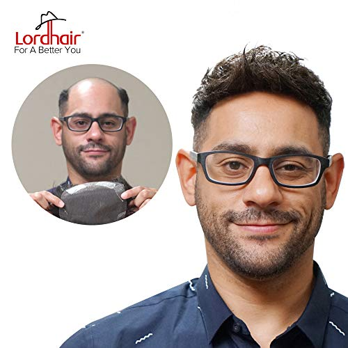 Lordhair Toupee Soft Full Swiss Lace Toupee With 100% Human Hair Hairpieces Hair Replacement For Men Color 1( 15 Colors Available) -