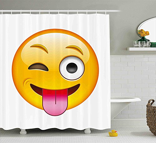 Emoji Shower Curtain Cartoon Like Technologic Smiley Flirty Sarcastic Happy Face with Tongue Modern Print Fabric Bathroom Decor Set with Hooks Yellow White 70