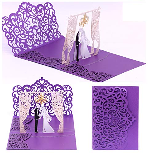 - Pop up Wedding Invitation Pocket-Folds with Envelope. Memorable, Unique and Elegant Laser Cut 3D Design by Tada Cards. Perfect for Wedding Thank You Cards (Purple Chandelier (10-Pack)
