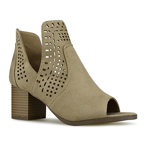 Women's Perforated Women's On Heeled Boot Beige Premier Faux Heel Bootie Cut Shoe Standard Leather Out Mid Pull EqFnx51w