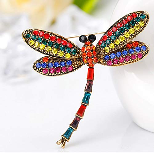 Dragonfly Rhinestone Vintage Brooches Pin Badge For Women Animal Jewelry Accessories Wedding Decoration ()