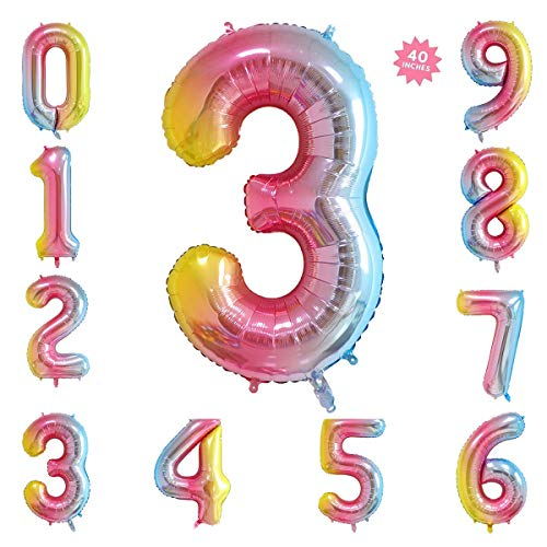 40 Inch Rainbow Jumbo Digital Number Balloons 3 Huge Giant Balloons Foil Mylar Number Balloons for Birthday Party,Wedding, Bridal Shower Engagement Photo Shoot, Anniversary]()