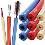 Vive Foam Tubing (9 Pieces) - Utensil Padding Grips - Spoon, Fork Round Hollow Medical Closed Cell Tube - Cut to Length - Provides Wider, Larger Grip Pipe Tool for Dexterity, Disabled, Elderly