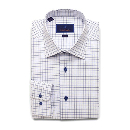David Donahue Trim Fit Open Check With Surprise Twill Dress Shirt 16'' Neck 32/33'' Sleeve Blue by David Donahue