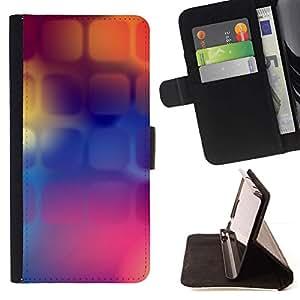 For Sony Xperia M2 Case , Púrpura Naranja Púrpura Polígono- la tarjeta de Crédito Slots PU Funda de cuero Monedero caso cubierta de piel
