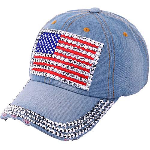 CRUOXIBB USA Bling Denim Baseball Cap Patriotic American Flag Hat for Women Men 4th July ()