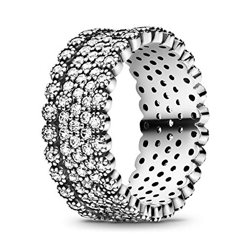 Pandora Jewelry - Sparkling Pavé Band Ring for Women in Sterling Silver with Clear Cubic Zirconia, Size 7.5 US / 56 EURO (Pave Sterling Silver Band)