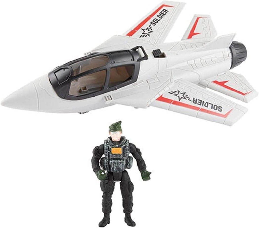 Toi-Toys Milit/är Flugzeug mit Soldat /& Waffen Spielzeug Jet Armee War Army