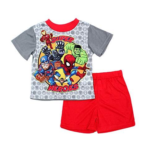 Marvel Boys' Toddler Heroes 2-Piece Pajama Set, Team Gray, 3T