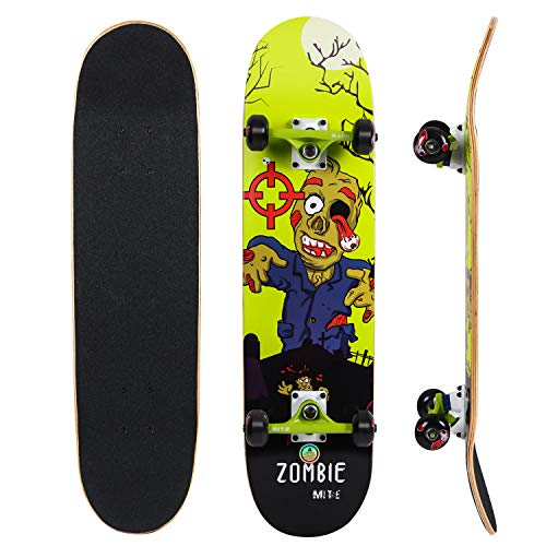 IMITOR Complete Skateboards for Beginners Standard Skateboard Cruiser 31″ x 8″ 8 Layer Canadian Maple Wood Double Kick Concave Skate Board for Boys Girls Kids Youths Adults