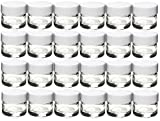 Premium Vials, 24 pcs, Glass Concentrate Jars with White Lids - Air Tight Medical Marijuana Cannabis Concentrate Containers (White Caps)
