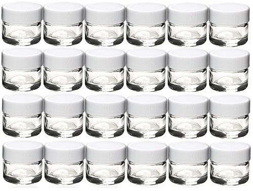 5a5ab6ae945c Premium Vials, 24 pcs, Glass Concentrate Jars with White Lids - Air Tight  Medical Marijuana Cannabis Concentrate Containers (White Caps)