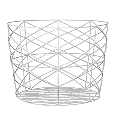 Bloomingville Round White Metal Storage Basket - Colors: white Materials: iron Measurements: 21.5L x 15.5H x 21.5W - living-room-decor, living-room, baskets-storage - 51w4DXMDw1L. SS400  -