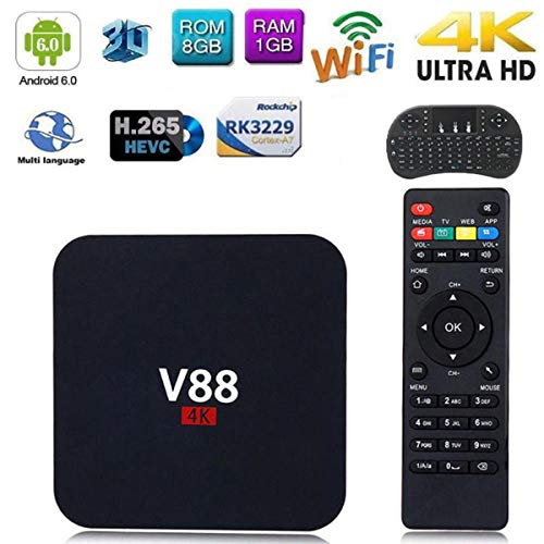 Android 7.1 TV Box TTV Box Smart TV Box Media Player 1GB 8GB V88 Support USB 2.0 2.4GHz WiFi 3D 4K Full HD H.265 100M…