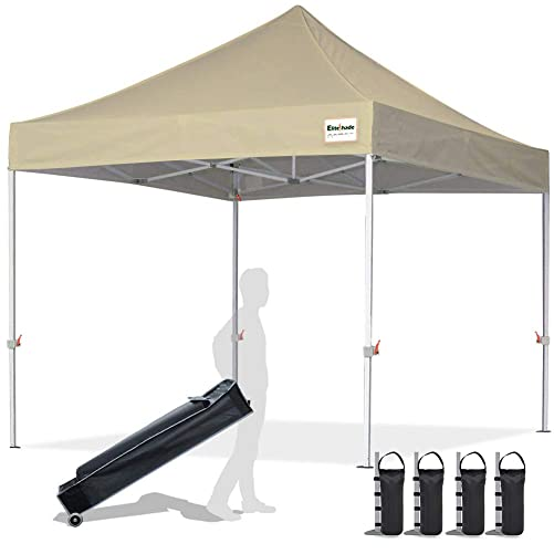 EliteShade 10 x10 Commercial Ez Pop Up Canopy Tent Instant Canopy Party Tent Sun Shelter with Heavy Duty Roller Bag,Bonus 4 Weight Bags,Beige