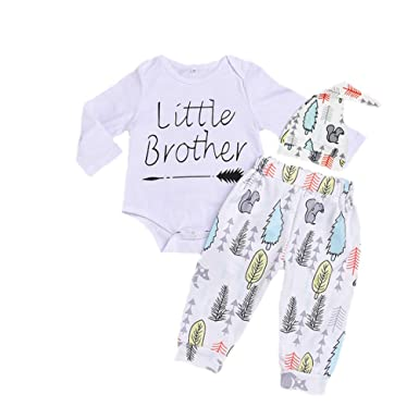 83220492dcf4 Amazon.com  WOSENHK 3Pcs Newborn Baby Boys Clothes Little Brother ...