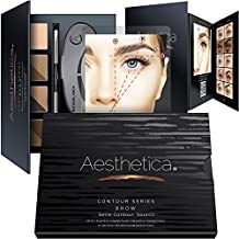Aesthetica Cosmetics Brow Contour Kit – 15-Piece Contouring Eyebrow Makeup Palette – Includes Powders, Wax, Stencils, Spoolie/Brush Duo, Tweezers & Step-by-Step Instructions – Vegan & Cruelty Free