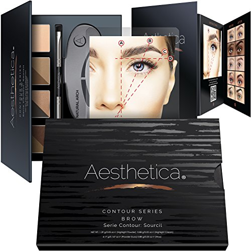 Aesthetica Cosmetics Brow Contour Kit – 16-Piece Contouring Eyebrow Makeup Palette – Includes Powders, Wax, Stencils, Spoolie/Brush Duo, Tweezers &...