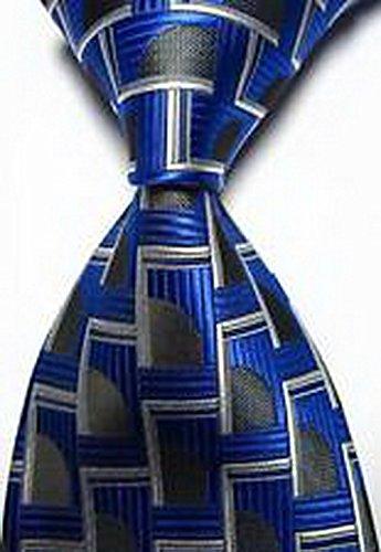Pumpkin Trace Patterns (Calvinci - Classic Patterns Blue Black White JACQUARD WOVEN Silk Men's Tie Necktie TGIN 120288)
