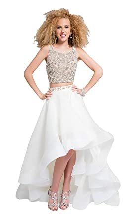 e199ee3714b3 Terani Couture Two-Piece Sleeveless Beaded Top High-Low Dress at Amazon  Women's Clothing store:
